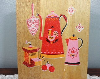 Vintage Wooden Cutting Board - Hand Painted - Pink, Orange and Red Coffee Pot, Cherry and Rooster Design - Farm House Wall Hanging