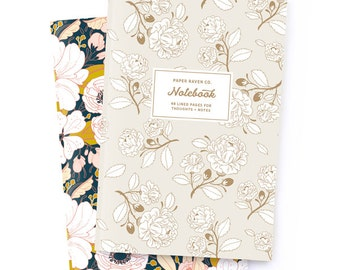 Notebook Set of 2 - Royal Rose Gold Notebook and Night Floral Notebook - Journal - Daily Jotter - Floral Notebook
