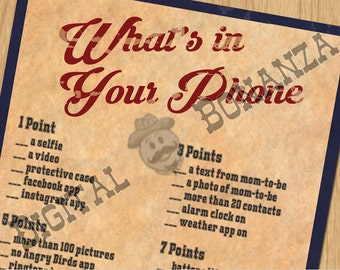 Baby Shower Games Whats in your Phone Game Vintage Baseball - Instant Download / Digital file - Print It Yourself – DIY - Download BS002N