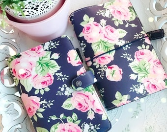 NAVY Rose FloRal Traveler's Notebook / Personal Size Planner : Websters Pages Planner diary Journal Notebook (include 3 Inserts, Gel Pen)