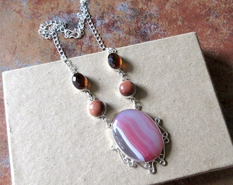 Pink Agate Pendant Necklace/Pink Onyx Delicate Gemstone Necklace, Silver Necklace - Everyday Wear Minimalistic Jewelry GN207