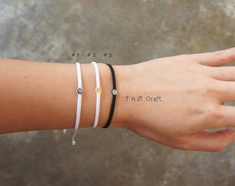 Gemstone Boho Macramé Bracelet // Lucky Charm // with Natural semi-precious stones
