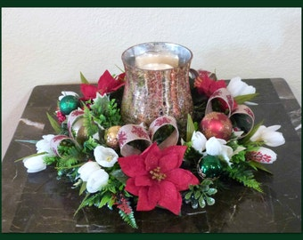 Christmas Candle Wreath, Christmas Candle Ring with Poinsettias