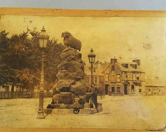 Wooden Box With Photo of Statue of a Ram Colvin Fountain Moffat Dumfries and Galloway Scotland