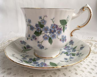 Reserved Paragon China Tea Cup and Saucer, Forget Me Not, Blue Floral with Gold Trim