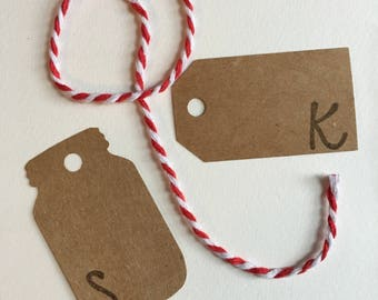 Mason jar / gift tags / brown craft paper // initaled, stamped, or plain // personalized