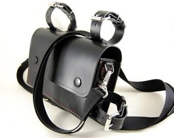 Leather bike bag, black leather bag, biker bag