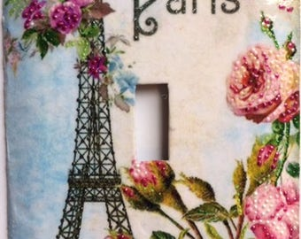 Vintage Paris Postcard - beautiful pink and red roses in front of the Eiffel Tower - hand painted over an old postcard.