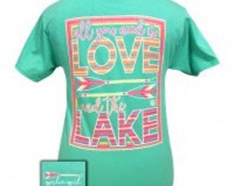 Girlie Girl Love at the Lake tee shirt NEW