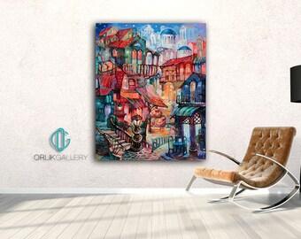 Downtown Art Print, High Quality Canvas, Large Art Print, Interior Design Art, Home Decoration Art, Wall Hanging, Giclee Print, Print Canvas