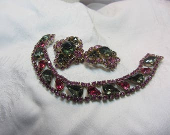 Vintage Pink and Grey Rhinestone set in GT Metal Jewelry Set - Clip Earrings and Bracelet