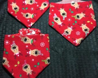 Red Reindeer Christmas Waterproof/Reversible Bibdanas for Infants or Toddlers Handmade