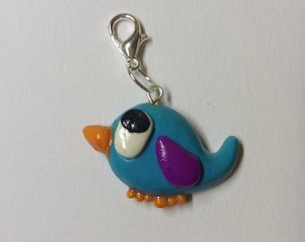 Polymer Clay Blue and Purple Bird Charm