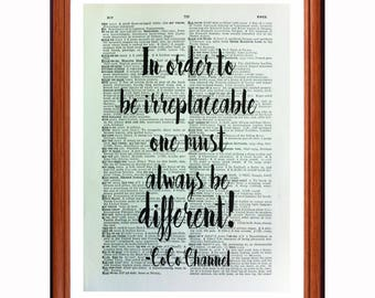 CoCo Chanel quote  dictionary art print home decor present gift