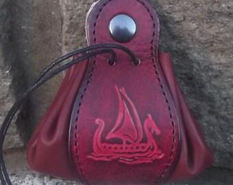 """Leather  pouch,  viking drakar design ,colour """"bordeaux""""( 16 colour to choose) , 2 sizes available"""