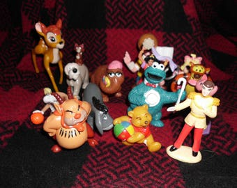 12 Assorted Vintage PVC Figurines Disney Winnie the Pooh Sesame Street Muppets Cake Toppers Mid--to-late 1990s