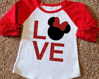 Red Ruffle LOVE Minnie Raglan Shirt