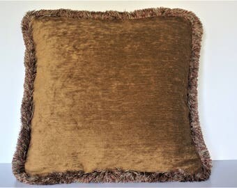large solid rust gold chenille gold fringe throw pillow for sofa couch chair handmade in usa