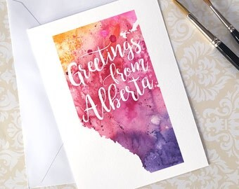 Alberta Watercolour Map Greeting Card, Greetings from Alberta Hand Lettered Text, Gift or Postcard, Giclée Print, Map Art, Choose 5 Colours