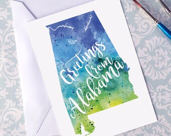 Alabama Watercolor Map Greeting Card, Greetings from Alabama Hand Lettered Text, Gift or Postcard, Giclée Print, Map Art, Choice of 5 Colors