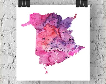 New Brunswick Watercolour Map - Giclée Print of Hand Painted Original Art - 5 Colours to Choose From