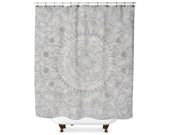 Marble and pearl mandala pattern shower curtain
