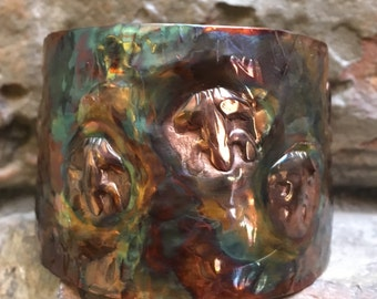 Flame Painted Copper Frog Cuff Bracelet
