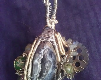 Wire Wrapped Steam Punk Geode Pendant