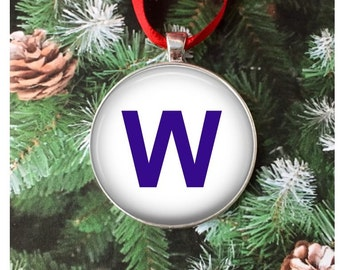 Chicago Cubs Ornament Necklace - Fly the W ornament - Chicago Cubs Win Flag - turns into a men's necklace, car rear view mirror ornament