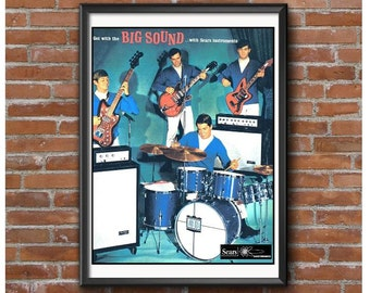Vintage Musical Instruments Poster – Drums Electric Guitar Bass Guitar Amps Silvertone