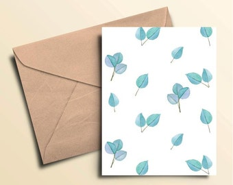 Blue Leaf Note Cards - Box of 10 With Envelopes