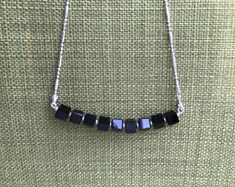 Black Sterling Silver Chain Necklace 18.5""