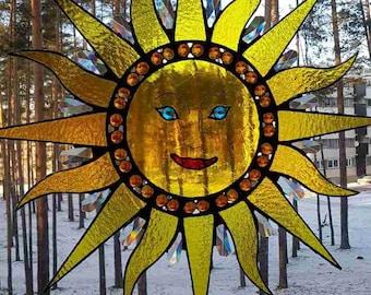 Slavic Sun Mandala Suncatcher one of a kind