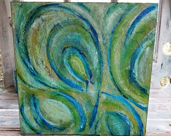 Abstract, Textured, Wall Hanging, 12x12 Cradled Panel, Blues, Greens