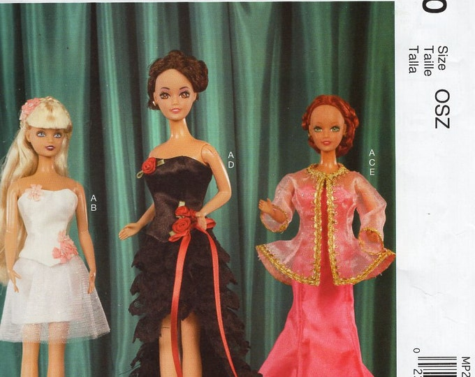 """FREE US SHIP McCall's P290 7488 Out of Print  11 1/2"""" Fashion Doll Barbie Size Clothes Sewing Pattern Evening Gowns Retro Uncut Like new"""