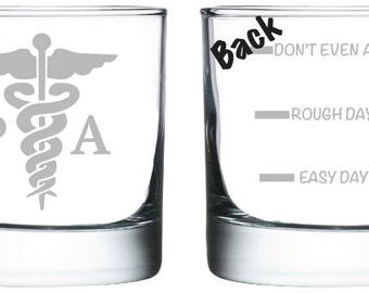 Physician Assistant PA Glass- Set of 2 -Old Fashioned Glass -Funny Personalized Etched Glasses
