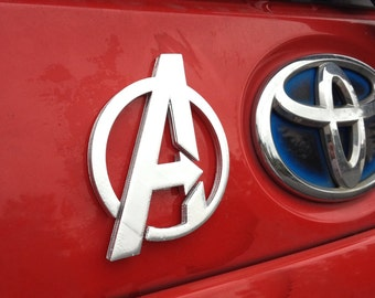 Fanart 3D printed silver Avengers A car decal/logo/magnet, great gift for nerd girl or boy