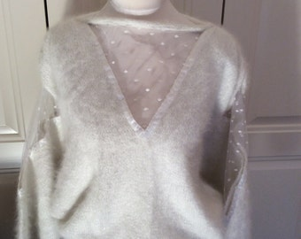 white angora handknit jumper with lace white panels size small to medium