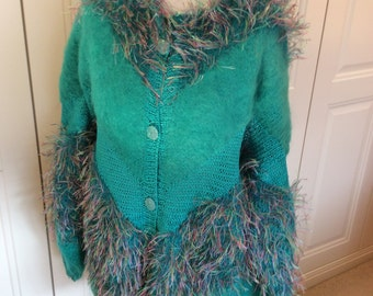 Green wool designer handknit cardigan long sleeves no collar front buttons medium size