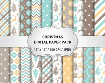 "SALE! Christmas digital paper: ""CHRISTMAS PAPERS"" with Snowflakes Deers Christmas Trees, Christmas Background, Snowflake Paper, Xmas Pattern"