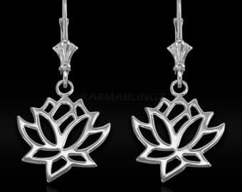 Sterling Silver Lotus Flower Yoga Earrings