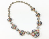 40s Micro Mosaic Glass Necklace | Multicolored Glass Flowers | Italy
