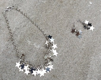 "Sparkling multi-star necklace and matching earring dangles- Holiday/Christmas jewelry set for American Girl/18"" doll"