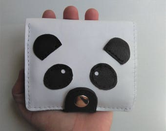 Small Panda Wallet for Women, Funny Leather Wallet for Women Panda, Small Womens Wallet