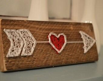 Valentine Arrow, Rustic Decor, String Art