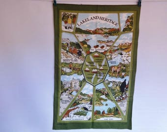 Vintage Vista Cotton tea towel Lakeland Heritage Lake District