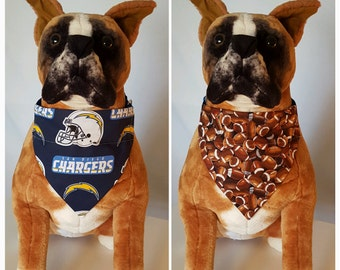Reversible Bandana, Made With San Diego Chargers Fabric, California, Football, Scarf, Dog, Cat, Pet, Slip On Over The Collar, 2 in one