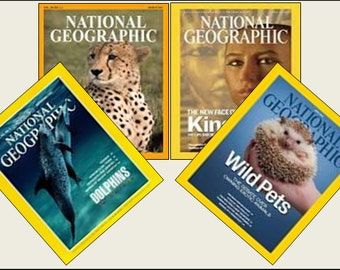4 Miniature  'NATIONAL GEOGRAPHIC'   Magazines  -  Dollhouse 1:6   1/12    1/24   1/48   scale   IGMA
