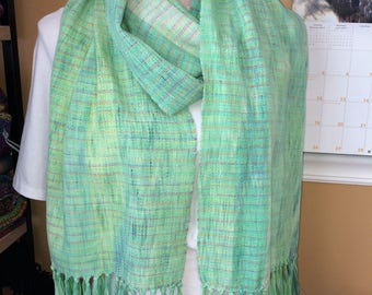 Long handwoven scarf with fringe Spring Green rainbow