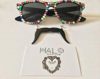 Novelty gem moustache sunglasses. Fancy dress accessory